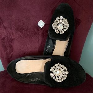 Jeweled Velvet Black Loafers